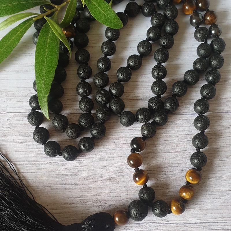Tiger eye and lavastone mala necklace