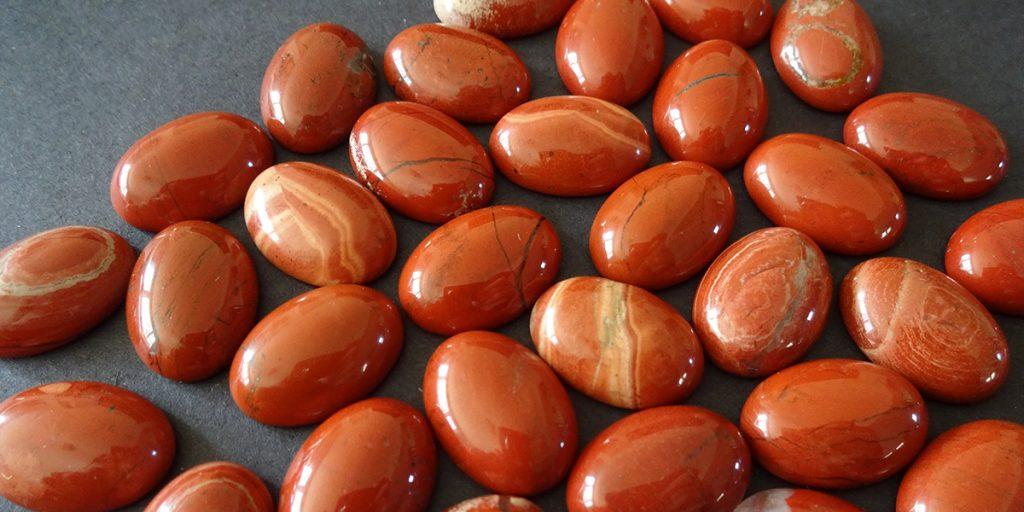 Polished red jasper stones